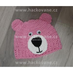 Háčkovaná čepička - medvídek - růžová