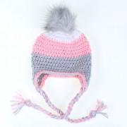 Háčkovaná zimní čepice - bílá, růžová, šedá, obvod hlavy 50cm