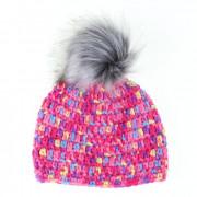 Háčkovaná zimní čepice - růžová, strakatá, obvod hlavy 49cm