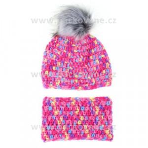 Háčkovaný set čepice, nákrčník, růžová, strakatá