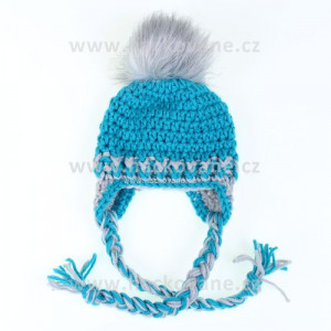 Háčkovaná zimní čepice - tyrkysová, obvod hlavy 39cm