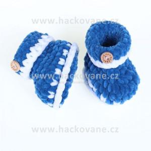 Háčkované botičky - modrá, puntík