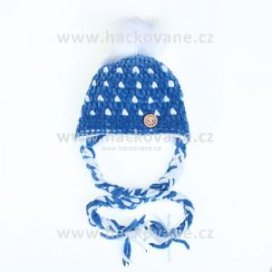 Háčkovaná čepička - kulišanka, modrá, bílý puntík, kožešinová  bambule