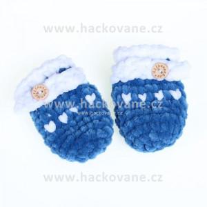 Háčkované rukavičky - modrá, puntík