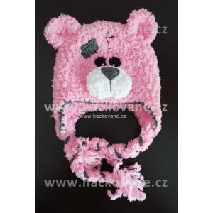 Háčkovaná čepice medvídek, růžová