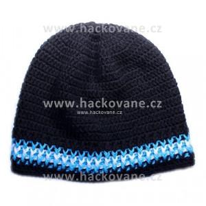 Háčkovaná čepička - černá - modro-bílé pruhy