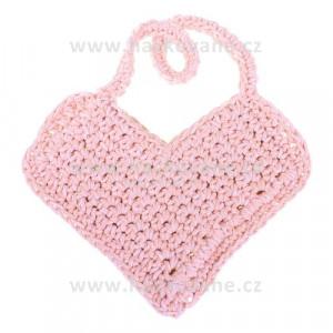 Háčkovaná kabelka ve tvaru srdce - světle lososová