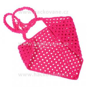 Háčkovaný šátek - tmavě růžová