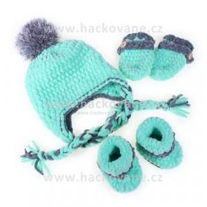 Háčkovaný set čepice, botičky, rukavičky, mint, šedá